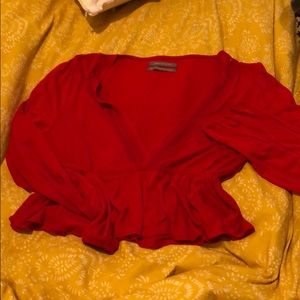 Bright red v neck Urban Outfitters Top